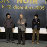 La cinquina dei finalisti (meno i due assenti giustificati) all'inaugurazione del festival. Fra i due presentatori: Gianni Biondillo, Leonardo Gori, Stefano Tura.